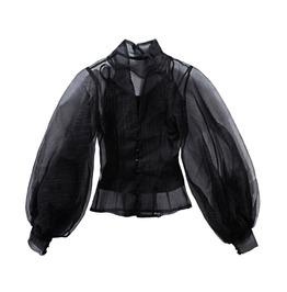 Lantern Long Sleeve High Collar Button Up Black Blouse Women's Top