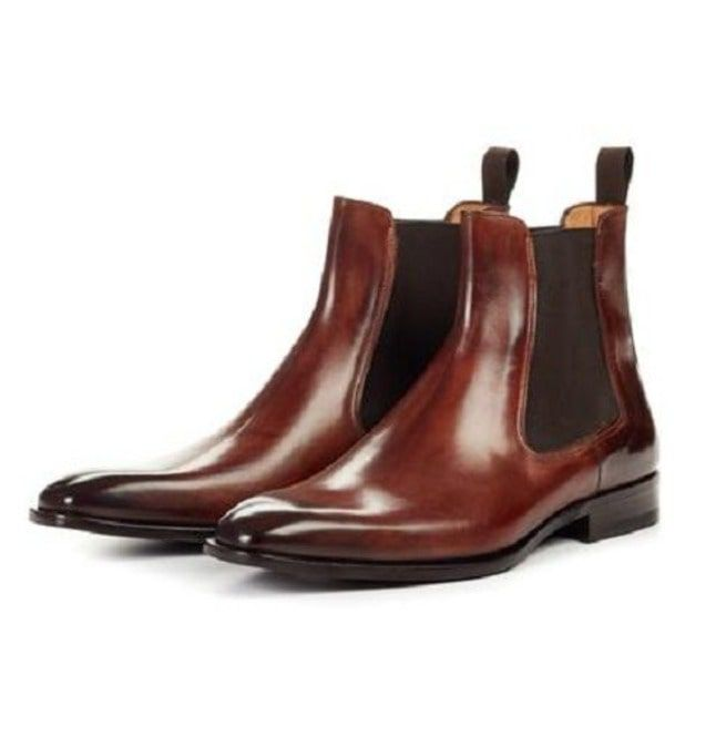 Men Brown Color Chelsea Boots, Ankle Boots, Mens Leather Boots