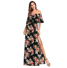 Summer Off Shoulder Floral Chiffon Long Dress Ladies Beach Party Dresses