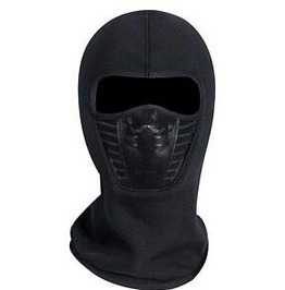Awesome Thick Thermal Fleece Black Biker Face Mask Balaclava Plastic Front