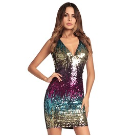 Women's Glitter Sequin V Neck Sleeveless Backless Stretchy Cocktail Dresses