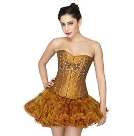 Golden Cotton Silk Sequins Overbust Top Poly Tissue Tutu Skirt Corset Dress