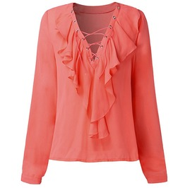 High Fashion Deep V Neck Ruffled Sleeve Blouse