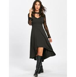 Asymmetric Long Lace Sleeves Black Dress