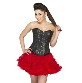 Black Cotton Silk Sequins Top With Red Poly Tissue Tutu Skirt Corset Dress
