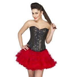 Black Cotton Silk Sequins Burlesque Top & Tutu Skirt Overbust Corset Dress
