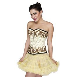 Yellow Satin Handmade Sequins Overbust Top & Poly Tissue Skirt Corset Dress