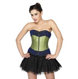 Green Satin Sequins Handmade Overbust Top & Satin Net Skirt Corset Dress