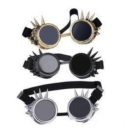Steampunk Spiky Vintage Brass Round Sunglasses