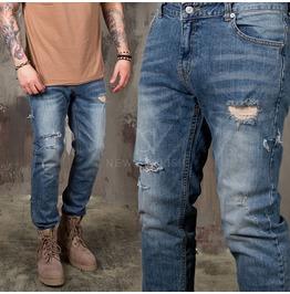 Distressed Vintage Cut Slim Jeans 376
