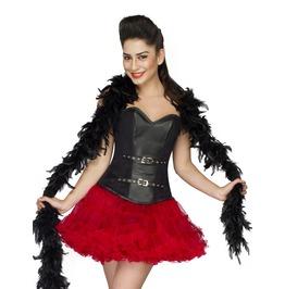 Black Leather Waist Cincher Overbust Top & Tissue Tutu Skirt Corset Dress
