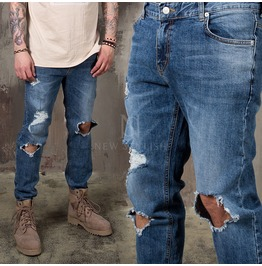 Distressed Ripped Knee Jeans 377