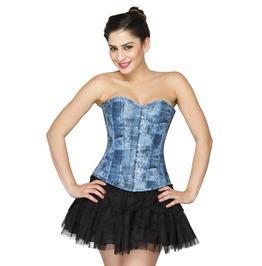 Blue Denim Print Faux Leather Overbust Top Satin Net Tutu Skirt Corset Dres