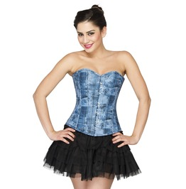 Blue Denim Print Leather Overbust Top & Tutu Skirt Plus Size Corset Dress