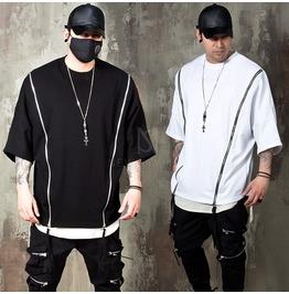 Double Diagonal Zipper Boxy T Shirts 883