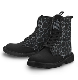 Women's Silver Pattern Lace Up Combat Gothic Boots (Black) *Free Shipping*
