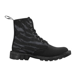 Women's Darkness Zebra Print Lace Up Combat Boots By Elliz Clothing (Black)