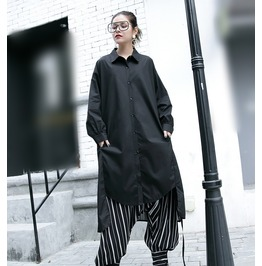 Long Sleeve Chiffon Shirt Black Button Up Dress Women's Top