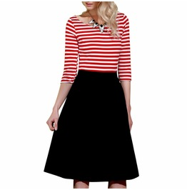 Retro Vintage Rockabilly Stripe Swing Women Dress