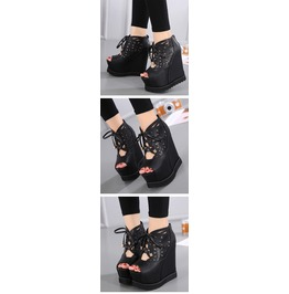 Open Toe Lace Up Black Wedges Hollow Carved With Back Zipper Women's Shoes
