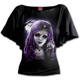 Goth Doll Boat Neck Bat Sleeve Top Black Plus Size
