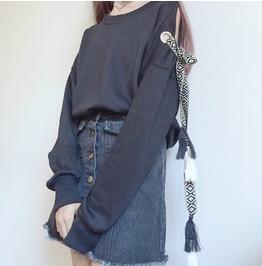 Long Sleeve Tassel Lace Up Sleeve Sweatshirt Women's Top