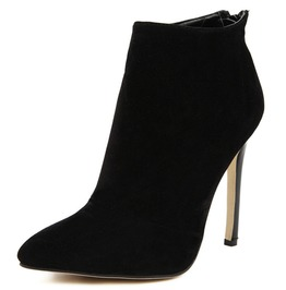 Black Pointed Toe Stiletto Ankle Women Booties