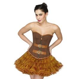 Brown Brocade Goth Halloween Costume & Tutu Skirt Overbust Corset Dress