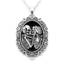 The Eternal Lovers Skull Cameo Pendant Necklace