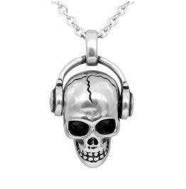 Rockabilly Swarovski Crystals Skull Headphones Necklace