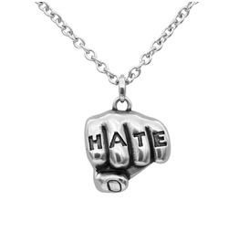 Hate Tattooed Hand Necklace