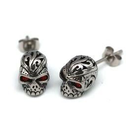 Steel Red Eyes Skull Scroll Stud Earrings