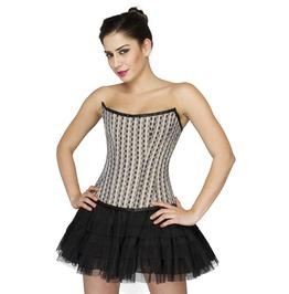 Black White Check Polyester Overbust Top Tutu Skirt Helloween Corset Dress