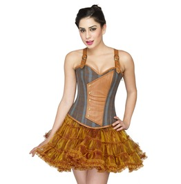 Cotton & Leather Straps Costume Overbust Top & Tutu Skirt Corset Prom Dress