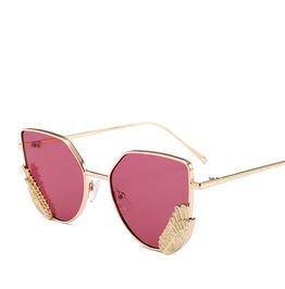 Women Wings Lens Glasses Alloy Frame Metal Eyeglasses Oversized Sunglasses