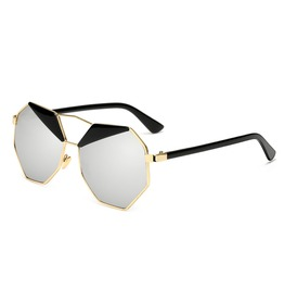 Men Women Classic Square Polygon Frame Metal Sunglasses Outdoor Mirrored
