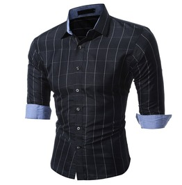 Social Classic Grid Pattern Men Shirt