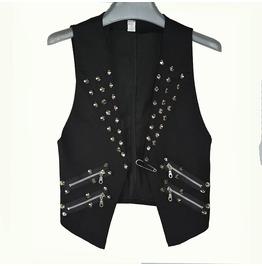 Punk Rock Rivets Zipper Men Vest