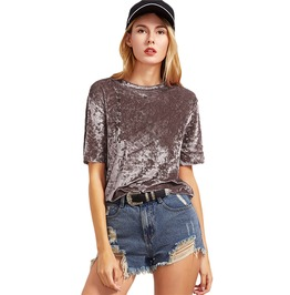 High Fashion Short Sleeve Velvet Coffee Shirt