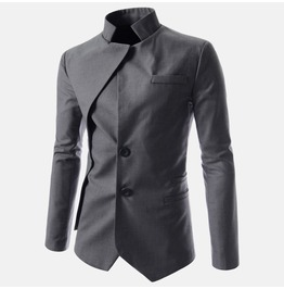 Goth Vintage Stand Collar Irregular Design Suit Jacket Men