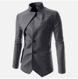 Goth Vintage Stand Collar Irregular Design Suit Jacket Men