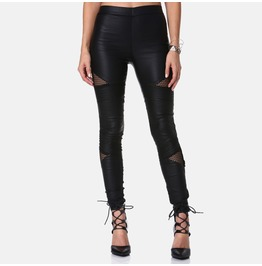 Punk Mesh Sheer Faux Leather Women Leggings