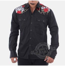 Rockabilly Western Cowboy Snap Button Skull Roses Shirt Psychobilly Rock N