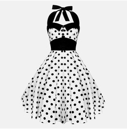 Rockabilly Pin Up White Black Polka Dot Dress Gothic 50s Swing Retro Party