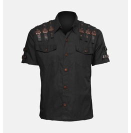 Gothic Steampunk Officer Short Sleeve Shirt