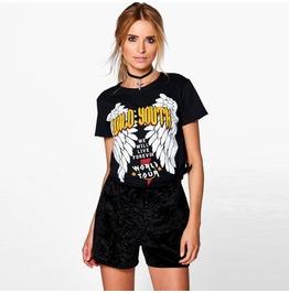 Summer Women's Wings Print Casual Short Sleeve Loose T Shirt