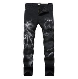 Horror Skull Printed Black Men Jeans