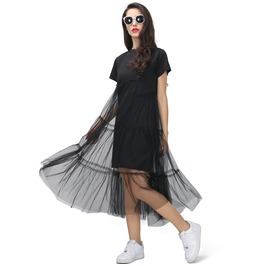 T Shirt Casual Midi Dress With With See Through Skirt Women's Dress