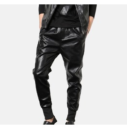 Elastic Waistband Punk Motorcycle Male Fashion Casual Harem Long Pants