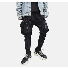 Zipper Super Large Pocket Punk Goth Elastic Mens Harem Loose Pants